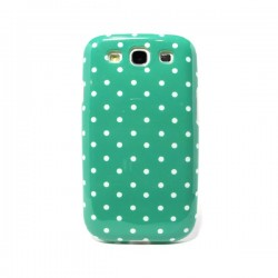 Funda de gel Turquesa topitos Galaxy S3