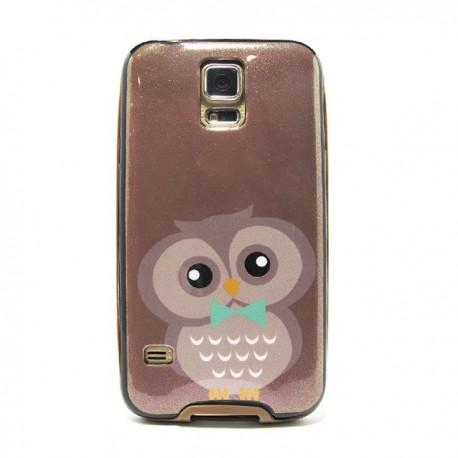 Funda de gel con purpurina Owl Galaxy S5